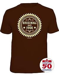 Geschenke-Set Shirt + Button: ORIGINAL 1966, ALLE FARBEN für Sie herstellbar zum 50. Geburtstag, Tshirt Geburtstagsgeschenk Alter 50 Jahre S M L XL XXL 3XL 4XL 5XL +Premium Button als Geschenk Set