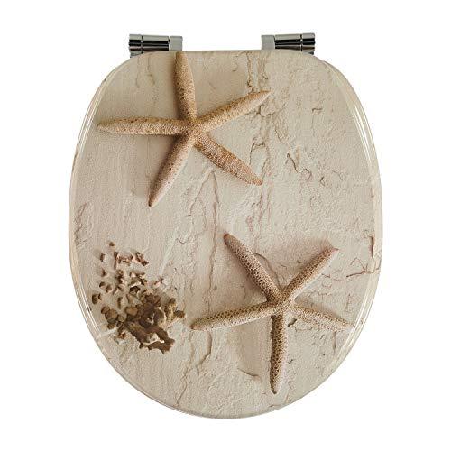 Toilettendeckel Design MDF-Holz WC-Sitz mit Absenkautomatik und verzinkten Scharnieren - Klodeckel WC-Brille Klobrille (Seestern)