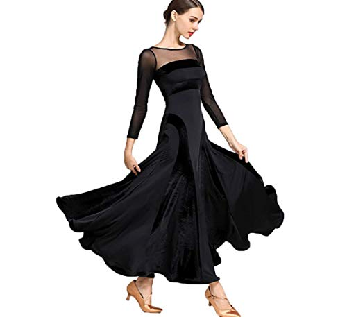 Swing Tanz Performance Kostüm - ZYLL Modernes Tanzkleid für Frauen,National Standard Ballroom Dance, Frauen Modern Waltz Tango Dancing Kleidung Samtkleid Dance Performance Kostüme Swing Competition Kleider,Black,S