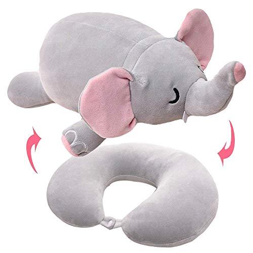 Willcome - Almohada Convertible para el Cuello 2 en 1 en Forma de U, Almohada de Viaje con Relleno de Peluche, diseño de Elefante
