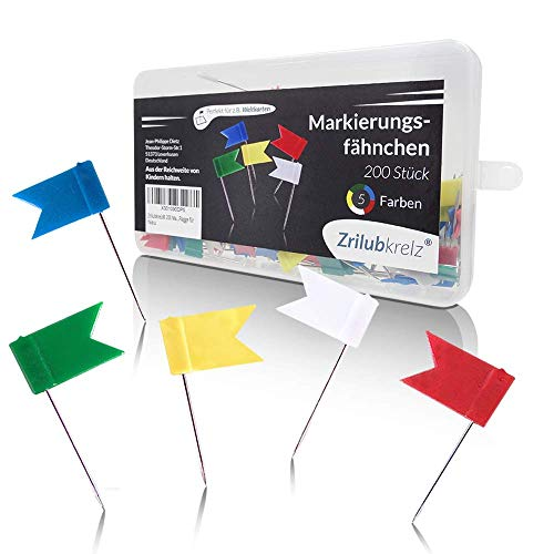 Zrilubkrelz® 200 Markierungsfähnchen Markierungsfahnen in 5 Farben | Markierfähnchen Fähnchen für die Weltkarte | Pin fahnen nadeln perfekt für die Pinnwand pinnnadel landkarte stecknadeln