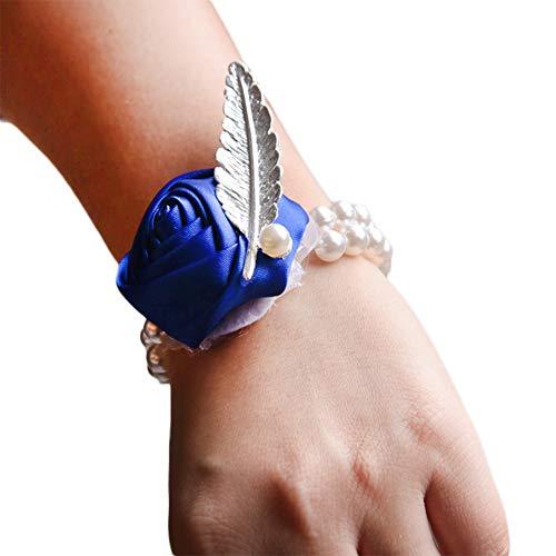 jingyuu Handgelenk Blume Brautjungfer Handgelenk Hochzeit Braut Armband Blumenornament, Brautjungfern Schwester Handgelenk Blume, Hochzeit liefert 1 Stück-Königsblau