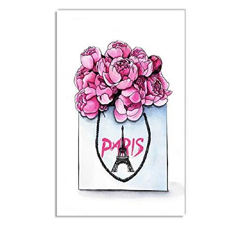 Rosa Mode Mädchen Parfüm Blume Tasche Nordic Poster Und Drucke Wandkunst Leinwand Malerei Wandbilder Für Wohnzimmer Dekor b geschenk -