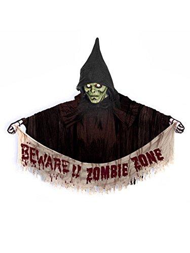 KULTFAKTOR GmbH Beware Zombie Zone Halloween Party Türdeko braun-rot-Weiss 120cm Einheitsgröße