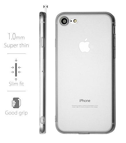 MyGadget Flip Case Hülle für Apple iPhone 7 mit Kartenfach und Standfunktion Klapphülle aus Kunstleder (PU) Schutzhülle Wallet Book Cover - Schwarz TPU Transparent