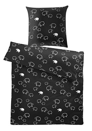 Schwarze Satin-bettbezug (Carpe Sonno Witzige Mako-Satin Bettwäsche 135 x 200 cm - Schwarz mit weiße Schafe Muster aus 100% Baumwolle für Kinder und Erwachsene - Bettzeug & Kopfkissen-Bezug mit Tier-Motiv)