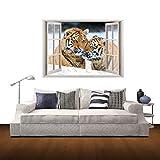 HQ's perfect store Moda 3D Tiger Window Visualizza Adesivo Rimovibile Wall Art, Decorazione della casa Creativa, Dimensioni: 60 x 85 x 0,3 cm Bene