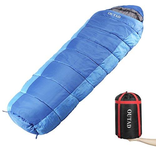 Sacco a pelo Sacchi a pelo rettangolari Outdoor Winter Warm Sacco a pelo singolo comodo Sacco da viaggio confortevole per campeggio Escursionismo Zaino in spalla - blu