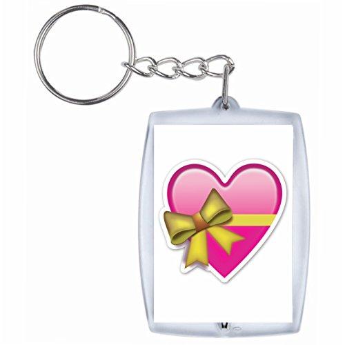 Druckerlebnis24 Schlüsselanhänger Herz in Rosa/Pink als Geschenk verpackt mit Schleife Rucksackanhänger, Taschenanhänger, Keyring, Emoji, Smiley, Exklusiv