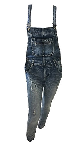 fashion&DU Damen Latzhose Hose Jeans Used Look Verwaschung destroyed Stretch jeansblau (S / 34, Jeansblau)