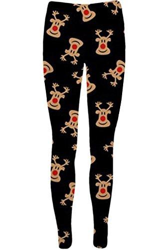 Oops Outlet Womens Mini Dresses Christmas Trees Xmas Santa Olaf Snowman Reindeer Rudolph Gift Bells Present Ladies Swing Top Plus Size UK 8-22 (M/l (UK 12/14), Leggings Red Nose Reindeer Black)