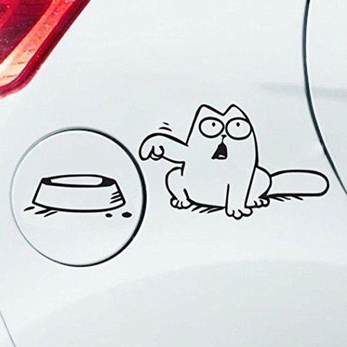 Autoaufkleber Cat Tankdeckel Futternapf Katze versch. Farben (Schwarz)