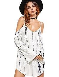 Sexy Épaules Dénudées Épaule Dénudée Tie Dye Manches Longues Ourlet Incurvé Mini Courte Nageur Trapèzee Maternity Tunique Dress Robe