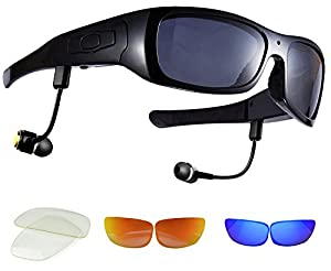 camaras de video espionaje: DCCN Espionaje Cámara Gafas Spy CAM Gafas polarizadas Gafas de Sol con cámara UV...