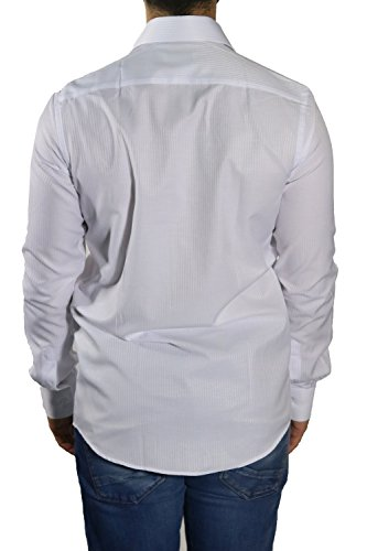 MUGA Homme Chemise à manches extra longues, cintrée Blanc