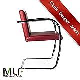 MLF Brünn Röhrenförmig Stuhl (4 Farben). Italienisches Leder, Brandhemmer und Höchst Elastische Sitzkissen. Erstklassiger polierter Edelstahl-fester röhrenförmiger Stangen-Rahmen fest, Rote