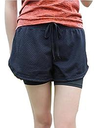 CATERTO Kurze Hose Damen Frauen Sporthose Shorts Hotpants I Jogger Kurz  Bermuda Damen 2-in-1 Sport Shorts Mesh Gym Yoga… b110640191