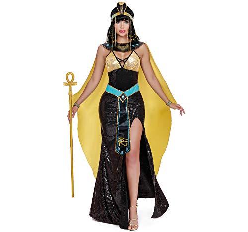 Dreamgirl Damen Kostüm Cleopatra Auge des Horus Deluxe Ägypterin Fasching Karneval S, M, L, XL (L) (Pailletten Cleopatra Kostüm)