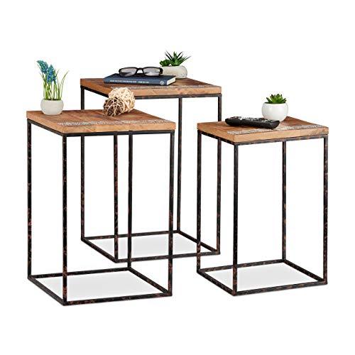 Relaxdays Beistelltisch 3er Set, Mangoholz & Metall, Stilmix, Wohnzimmer, Satztische in versch. Größen, braun/schwarz, Holz, H x B x T: ca. 55,5 x 35,5 x 35,5 cm - Natürliche Schwarze Beistelltisch