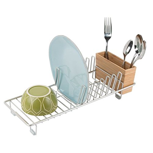 mDesign Stainless Steel Dish Rack - Draining Rack Rack for Kitchen Sink - Dish Clothes Airer with Tray - Metal/Bamboo