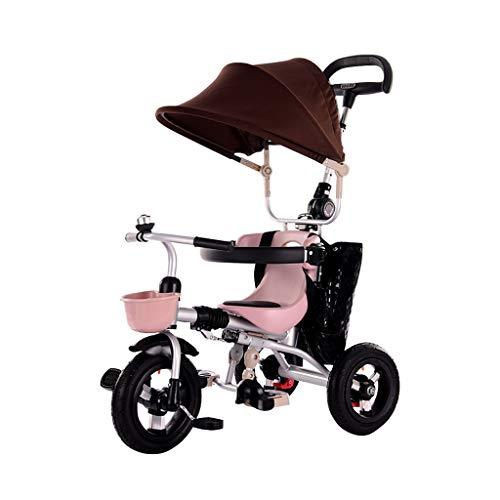 GYF Big Kid Faltbare Kinderwagen Trike, Anfänger Red Sun Shade 4 In 1 Dreiräder, 1-6 Jahre Alt Jungen Mädchen Dreiräder Geburtstagsgeschenk (Color : Brown) (Kid Big Dreirad)
