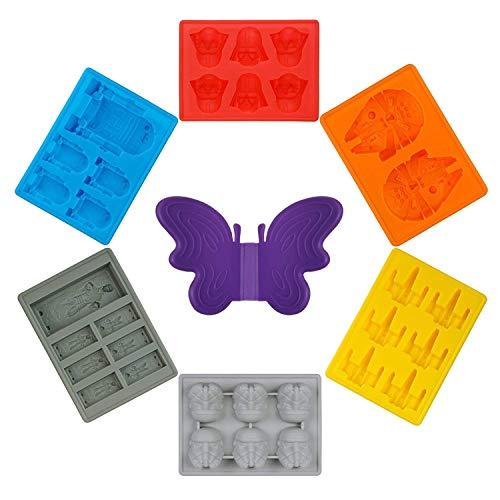Molde de Hielo,Newyond bandeja de hielo:Darth Vader, X-Wing Fighter, Stormtrooper, Millenium Falcon, R2-D2, Han Solo(6 piezas)