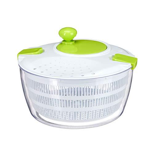 Relaxdays Salatschleuder zum Kurbeln, Profi salad spinner, großer Salattrockner, XL Salatkarusssel 5 Liter, weiß-grün