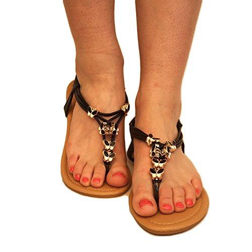 TOSKATOK® Ladies Femmes à Bout Ouvert Thong Sandales D'Été Flip Flop avec Strape Cheville Chaussures Plates Black Butterfly