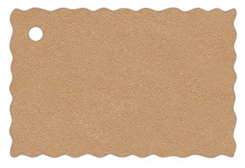 Anhänge-Etiketten AD-40-250 - 60x40 mm - mit Wellenrand - braun-natur (11) - Feinkarton 210g/m² - Lochstanzung 4 mm - beidseitig gut beschreibbar - 250 Stück