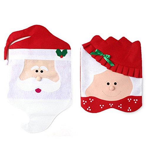 2 stücke Weihnachten Santa Clause Stuhl Abdeckung Set Mr & Mrs Babbo Natale Dekoration Hut Abdeckungen Weihnachtsdekorationen für Zuhause (Santa Hüte Einzigartige)