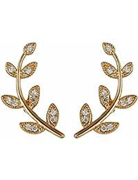 Aaishwarya Golden Petite Leaf Stone Ear Cuff Studs For Women & Girls