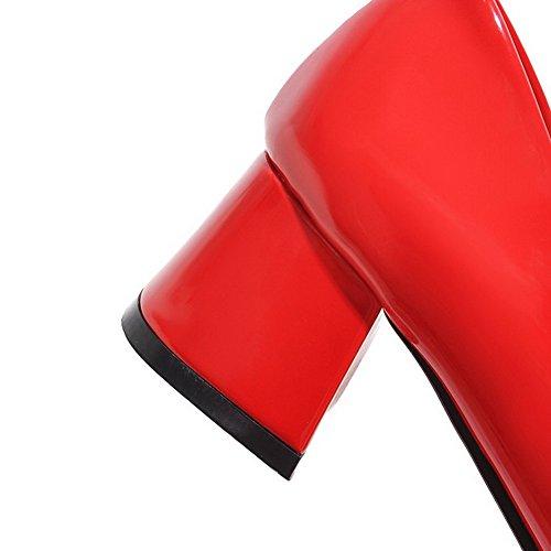 Voguezone009 Scarpe Colore Quadrati Corretta Tacco Rossa Ha Solido Luce Donna Verniciato Hxw5xpqa4