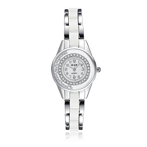iLove EU Damen Armbanduhr Strass Runde Digital Zifferblatt Silber Weiß Keramik Legierung Band Analog Quarz Uhr Charm Charme