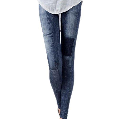 Legging Jeans,Sondereu Frauen Elastizität Skinny Hose Casual Jeans Look Jeggings Bleistift Dünne Strumpfhose Leggins Treggings Blau (Blau)