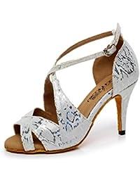 JSHOE Damen Latin Dance Schuhe Salsa/Tango/Tee/Samba/Modern/Jazz Schuhe Sandalen High HeelsGrey-heeled8.5cm-UK3.5...