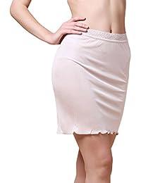 Dexinx Mujeres Half Slip Cintura Elástica de Encaje de Longitud Corta Underskirt Verano Color Sólido Cómoda Mini Falda de Seda