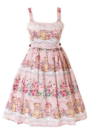 JSK-34 Rosa Teddy Bär Rosen Vintage Retro Kleid Pastel Goth Sweet Lolita Cosplay Kostüm Kawaii (Toy Story Bär Kostüm)