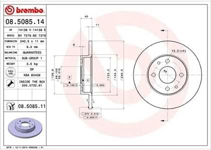 BREMBO 08.5085.31 Bremsscheiben Set of 2