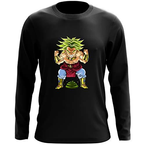 Okiwoki T-Shirt à Manches Longues Noir Dragon Ball Z - DBZ parodique Broly Le Guerrier millénaire : Super Caca Vol.3 - Le Caca Millénaire (Parodie Dragon Ball Z - DBZ)