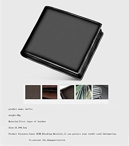 Tocoss(TM) Black Card Holder 3 Fold Wallet Brief en cuir v¨¦ritable fonction multi hommes Portefeuilles bourse argent