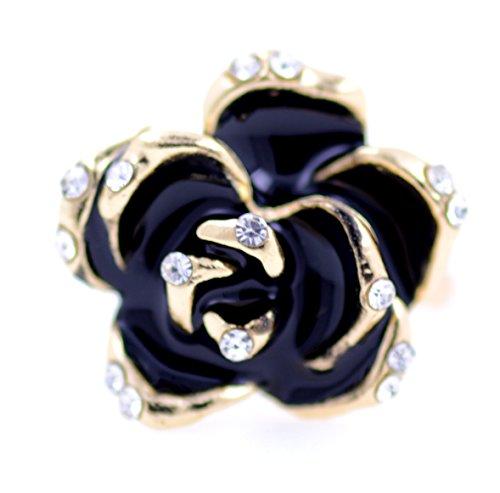 lizzyoftheflowers–verstellbare Gold und Schwarz Emaille Rose Lotus Blume Ring (Rose Blume Ring)