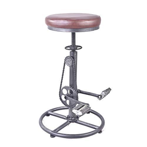 Topower - Taburete de Bar de Estilo Vintage, con Asiento de Madera y Pedal, Estilo Retro, Altura Regulable, diseño de llanta de Bicicleta
