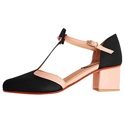Smonke Damen Sandalen im Sommer Mode Vintage Strass Runder Kopf Schnalle Bow High Heels Dicker Absatz Damenschuhe Sandalen Casual Shoes Beach Walk Casual Sandals -