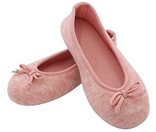 HomeTop Damen Elegante Kaschmir Aus Gewirken Innen Ballerina Hausschuhe / Schuhe Rosa