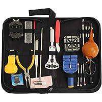MXECO 22PCS Reloj Profesional Un Kit de Herramienta de la reparación con el Caso de la Caja del sostenedor Lupa Bolsa de Almacenamiento de Soporte de la Banda de Apertura del Cuchillo de la Vida Rone