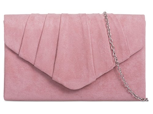 girly-handbags-faux-suede-clutch-bag-pleated-design-evening-party-womens-blush
