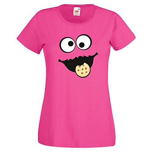 Keks Monster Damen T-Shirt Gruppen Kostüm Karneval Fasching Verkleidung Party JGA Fuchsia XXL