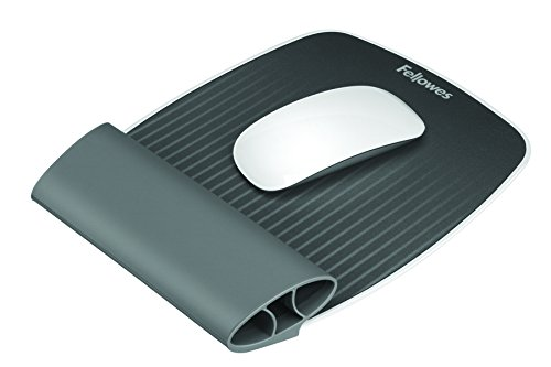 Fellowes I-Spire - Alfombrilla con reposamuñecas flexible para ratón, gris grafito