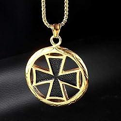 Burenqi Collar De Acero Inoxidable para Hombre Vintage Knights Templario Colgante Redondo Templar Negro Cruz Símbolo Colgantes,Gold