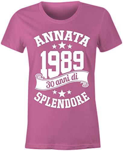 6TN Donna Realizzata nel 1989 30 Anni di Stupenda Maglietta del Trentesimo Compleanno Rosa)